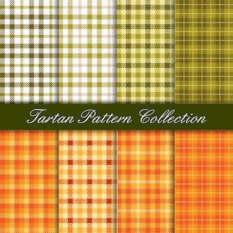 Fall season tartan green and orange seamless pattern
