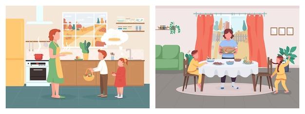 秋の季節のディナーフラットカラーセット。子供を持つ母親は感謝祭を祝います。ママは子供たちにアップルパイをあげます。背景コレクションのインテリアと家族の2d漫画のキャラクター