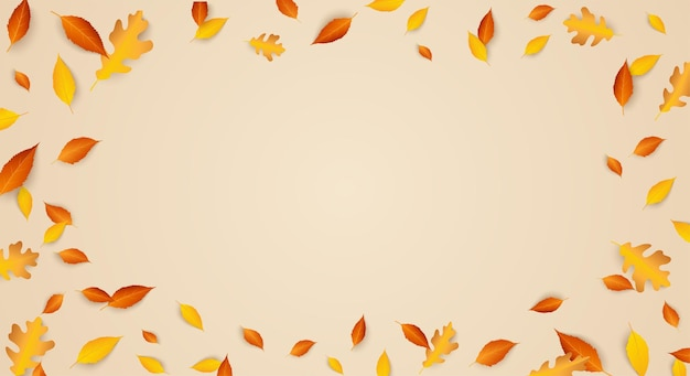 秋の季節のお祝いの背景フレームと秋の紅葉コピースペースカラフルなオークの葉
