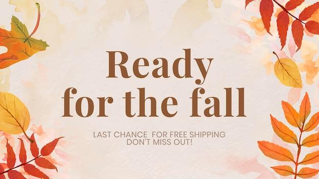 Vettore modello vendita autunnale per banner blog pronto per l'autunno