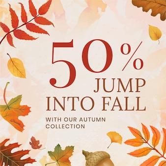 Fall sell template vector for social media post