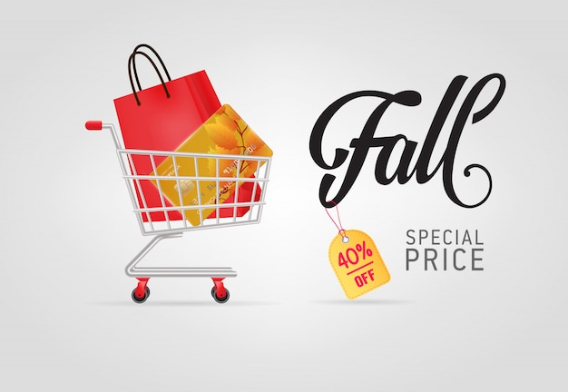 Fall, special price lettering with bag and credit card