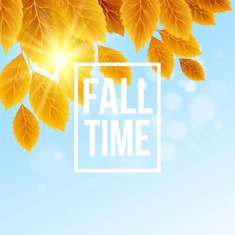 葉が落ちる秋の時間バナー