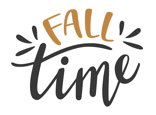 가을 시간 손으로 그린 글자