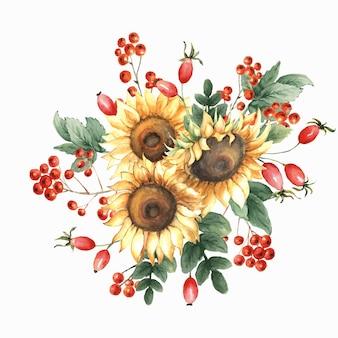 ひまわり、葉、ナナカマドの果実、小枝と秋の水彩の花束。