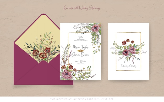 Fall watercolor invitation card with envelope