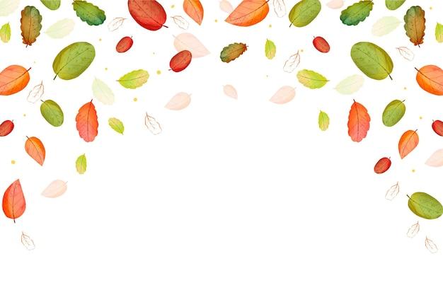 秋の水彩画の葉が落ちる