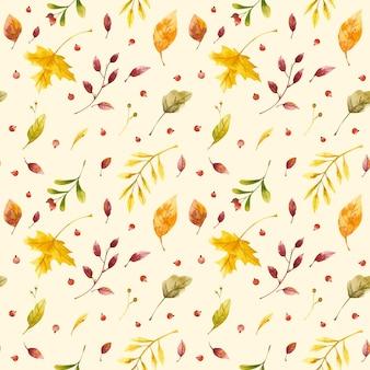 Осень акварель бесшовные модели осенние лесные листья