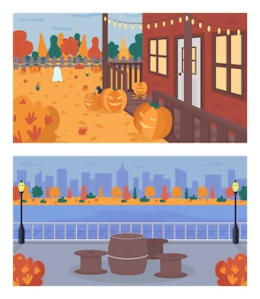 Fall weekend in city flat color set. halloween decoration in house backyard. table and chairs on sidewalk near water. urban 2d cartoon landscape with trees on background collection