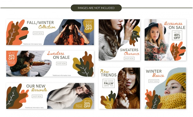 Fall/winter fashion sale banners set