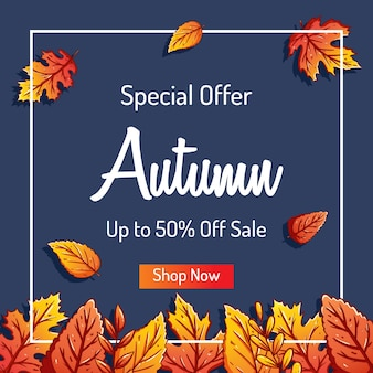 Falling autumn leaves background for shopping sale