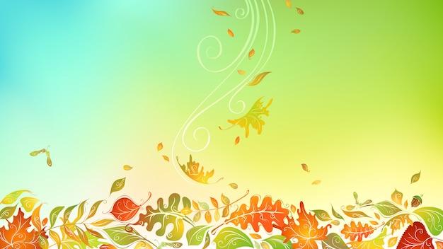 Падающие осенние листья. яркий осенний фон с копией пространства. листья березы, вяза, дуба, рябины, клена, каштана и осины
