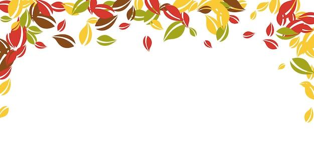 落ち葉。赤、黄、緑、茶色の混沌とした葉が飛んでいます。驚くべき白い背景に降る雨のカラフルな葉。魅力的な新学期セール。