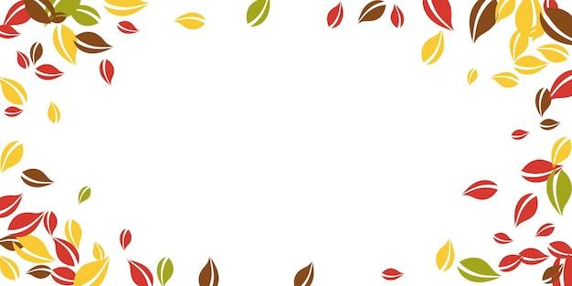 落ち葉。赤、黄、緑、茶色の混沌とした葉が飛んでいます。華やかな白い背景にビネットのカラフルな葉。魅力的な新学期セール。