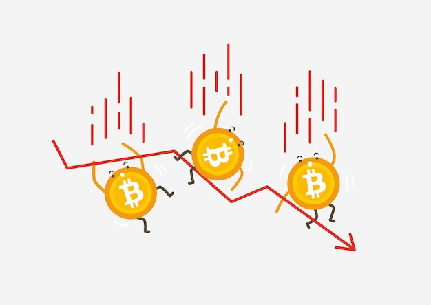 The falling of bitcoin coins. cryptocurrency cartoon concept.
