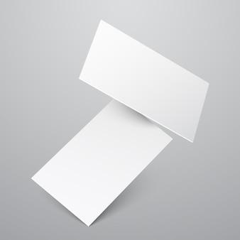 Падение пустой белый шаблон визитных карточек.