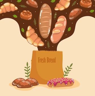 가방에 떨어지는 빵