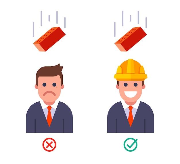 Падение кирпича на человека в шлеме и без него. техника безопасности наверху. плоские векторные иллюстрации