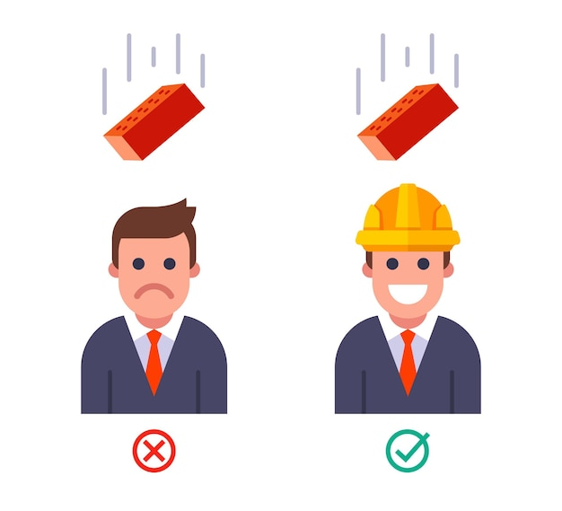 Falling brick on a person with and without a helmet. safety engineering at the top. flat vector illustration