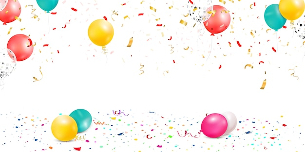 Falling bright colorful confetti, ribbon, stars celebration, serpentine isolated on white background. confetti flying on the floor with balloons.