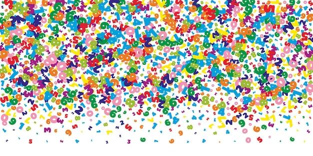 Падают яркие числа. концепция изучения математики с летающими цифрами. фактический обратно в школу математики баннер на белом фоне. падающие числа векторные иллюстрации.