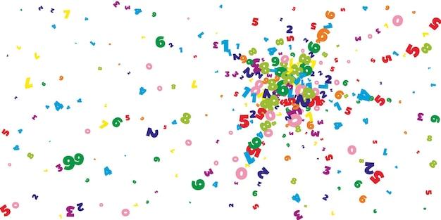 떨어지는 밝은 숫자. 비행 숫자와 수학 연구 개념입니다. 흰색 바탕에 학교 수학 배너로 귀중합니다. 떨어지는 숫자 벡터 일러스트 레이 션.