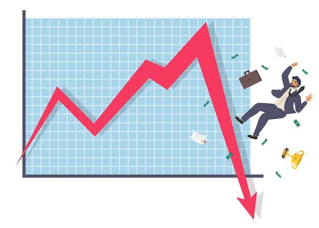 Падающий бизнесмен и стрелка вниз диаграмма плоская векторная иллюстрация провал бизнеса коллапс экономический ...