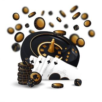 落ちるカジノチップとぼやけた要素のあるエース
