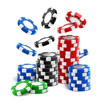 떨어지는 카지노 칩 또는 현실적인 도박 빈 토큰 스택, 룰렛, 블랙 잭 및 스포츠 포커에 대한 클럽 현금 또는 플라스틱 돈을 베팅합니다. 승리와 재산, 도박과 행운, 기회와 위험