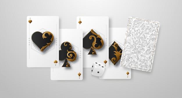 Падающие кости казино и тузы, концепция выигрыша или азартных игр. покер и карточные игры. ,