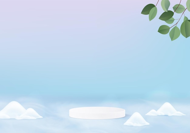 떨어지는 크리스마스 빛나는 눈 최소한의 장면 기하학적 플랫폼. 겨울 휴가 얼음 눈 배경 렌더링 연단. 제품을 보여주기 위해 서 있습니다. 블루 파스텔에 무대 쇼케이스