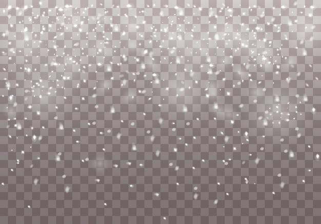 떨어지는 크리스마스 눈과 눈송이.