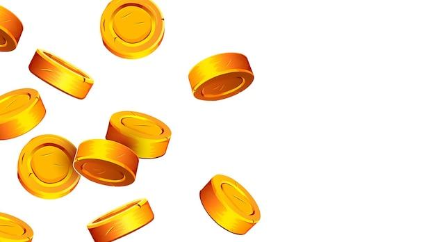 落下するコイン落下するお金飛ぶ金貨黄金の雨の大当たりまたは成功の概念現代の背景