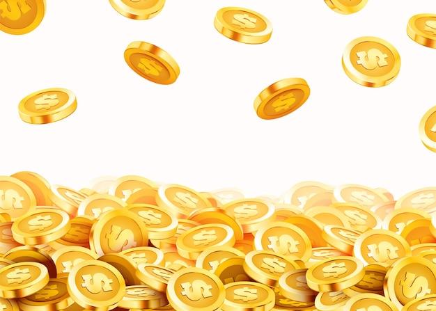 落下するコイン、落下するお金、飛んでいる金貨、金色の雨。