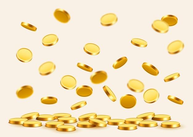 Падающие монеты, падающие деньги, летающие золотые монеты, золотой дождь.