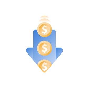 구멍에 떨어지는 동전, 아래쪽 화살표, 재정 손실, 돈 그림 낭비