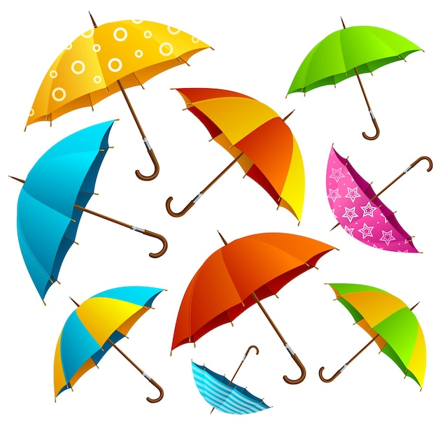 Falling color umbrellas background. free fly in the air. vector illustration