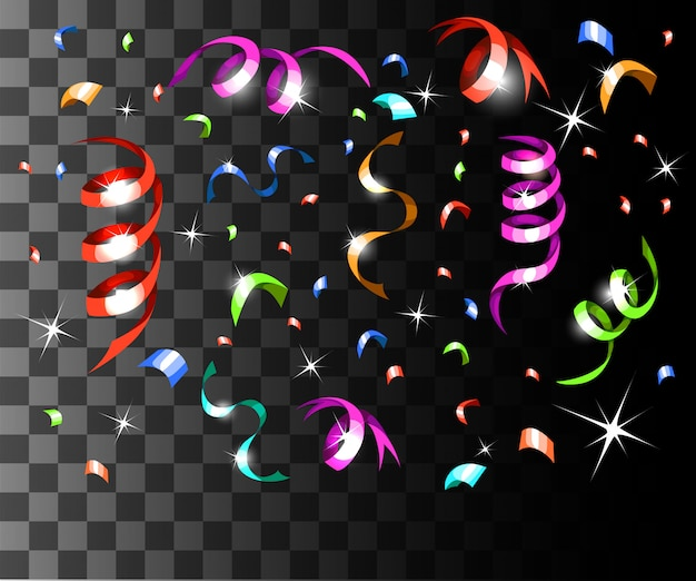 透明な背景のウェブサイトのページとモバイルアプリのカラフルな紙吹雪とカラフルなリボンのクリスマスの装飾の落下