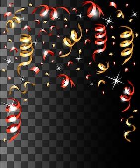 Падающие красочные конфетти и разноцветные ленты рождественские украшения на прозрачном фоне страницы веб-сайта и мобильного приложения