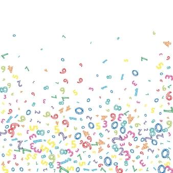 Падают красочные беспорядочные номера. концепция изучения математики с летающими цифрами. заманчиво обратно в школу баннер математики на белом фоне. падающие числа векторные иллюстрации.