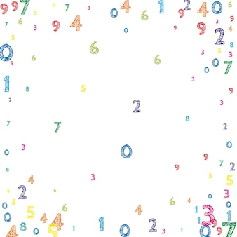 떨어지는 다채로운 순서 번호. 비행 숫자와 수학 연구 개념입니다. 흰색 바탕에 학교 수학 배너로 돌아갑니다. 떨어지는 숫자 벡터 일러스트 레이 션.