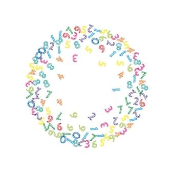 떨어지는 다채로운 스케치 번호. 비행 숫자와 수학 연구 개념입니다. 흰색 바탕에 학교 수학 배너로 다시 굵게. 떨어지는 숫자 벡터 일러스트 레이 션.