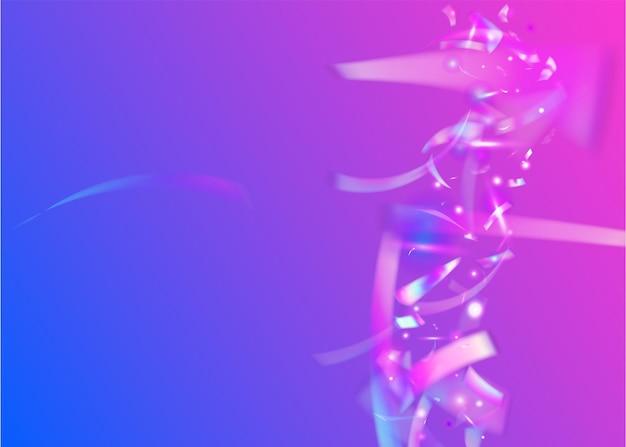 떨어지는 색종이. 무지개 빛깔의 반짝임. 디지털 아트. 홀로그램 배경입니다. 다채로운 템플릿을 흐리게 합니다. 파티 버스트. 유니콘 호일. 블루 메탈 틴셀. 보라색 떨어지는 색종이
