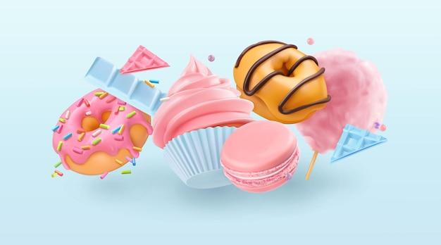 Падающий кекс и пончики. 3d реалистичный векторный фон