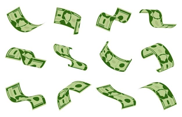 ドル紙幣の下落。現金ドル紙幣の雨、空飛ぶお金の請求書のシームレスな背景。緑のドルの飛行背景イラストセット。宝くじやカジノでの現金獲得、幸運