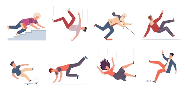 Falling down people. people of different ages stumblng and jumping down stairs, slipping wet floor, injured men, women, children vector flat cartoon isolated unbalanced characters