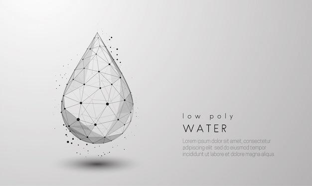 떨어지는 물 한 방울. 낮은 폴리 스타일 디자인