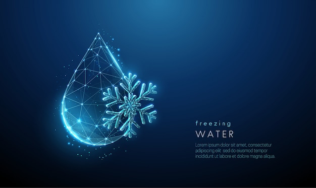 Falling drop of water and snowflake in low poly style