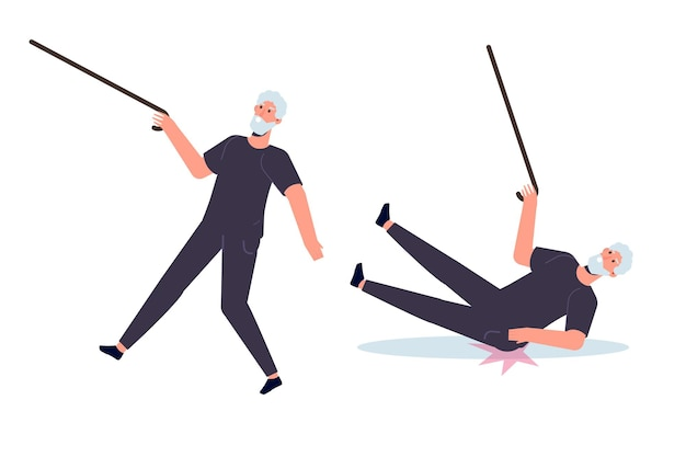 Falling elderly people concept. vector illustration in cartoon style