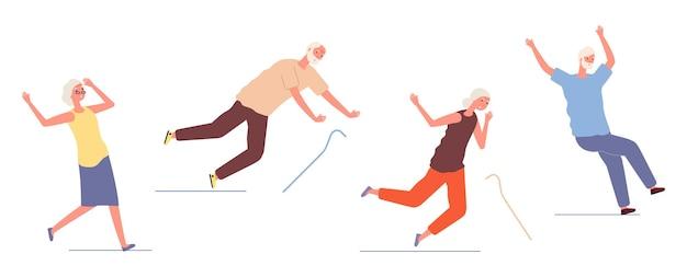 Падение пожилых людей. старуха мужчина спотыкается и поскользнулся. опасные травмы пожилых людей, здоровье и безопасность. травматическая авария изолированных персонажей векторные иллюстрации. падение старого пожилого человека
